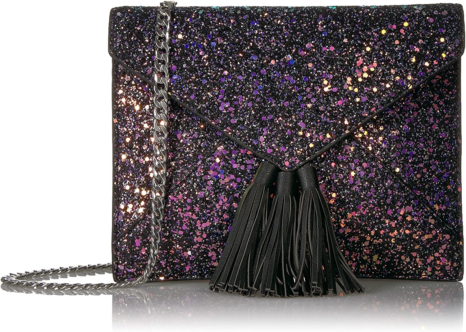 The black and purple clutch with tassels and and a chain strap