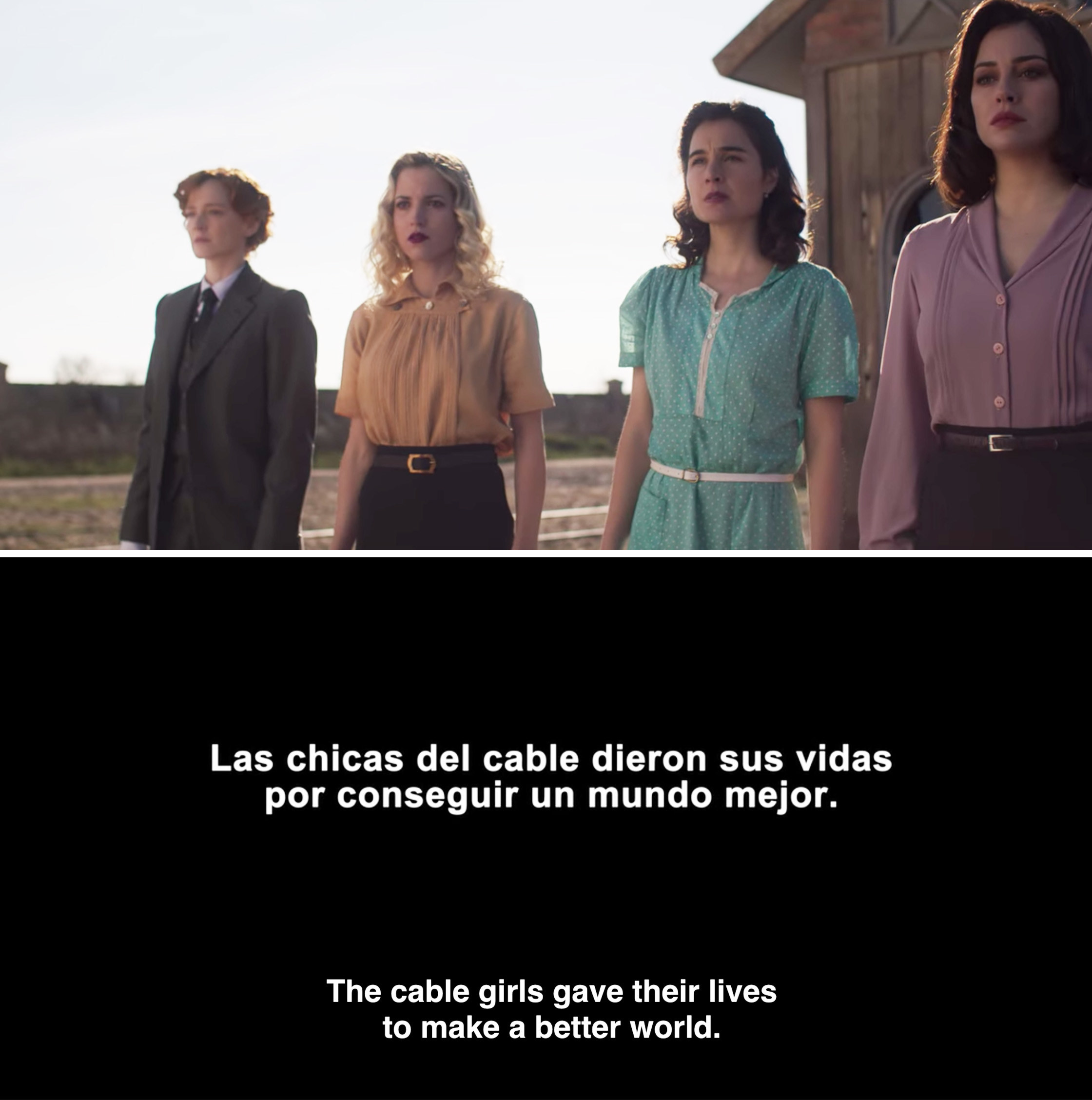 """The girls standing together and a final card reading, """"The cable girls gave their lives to make a better world"""""""