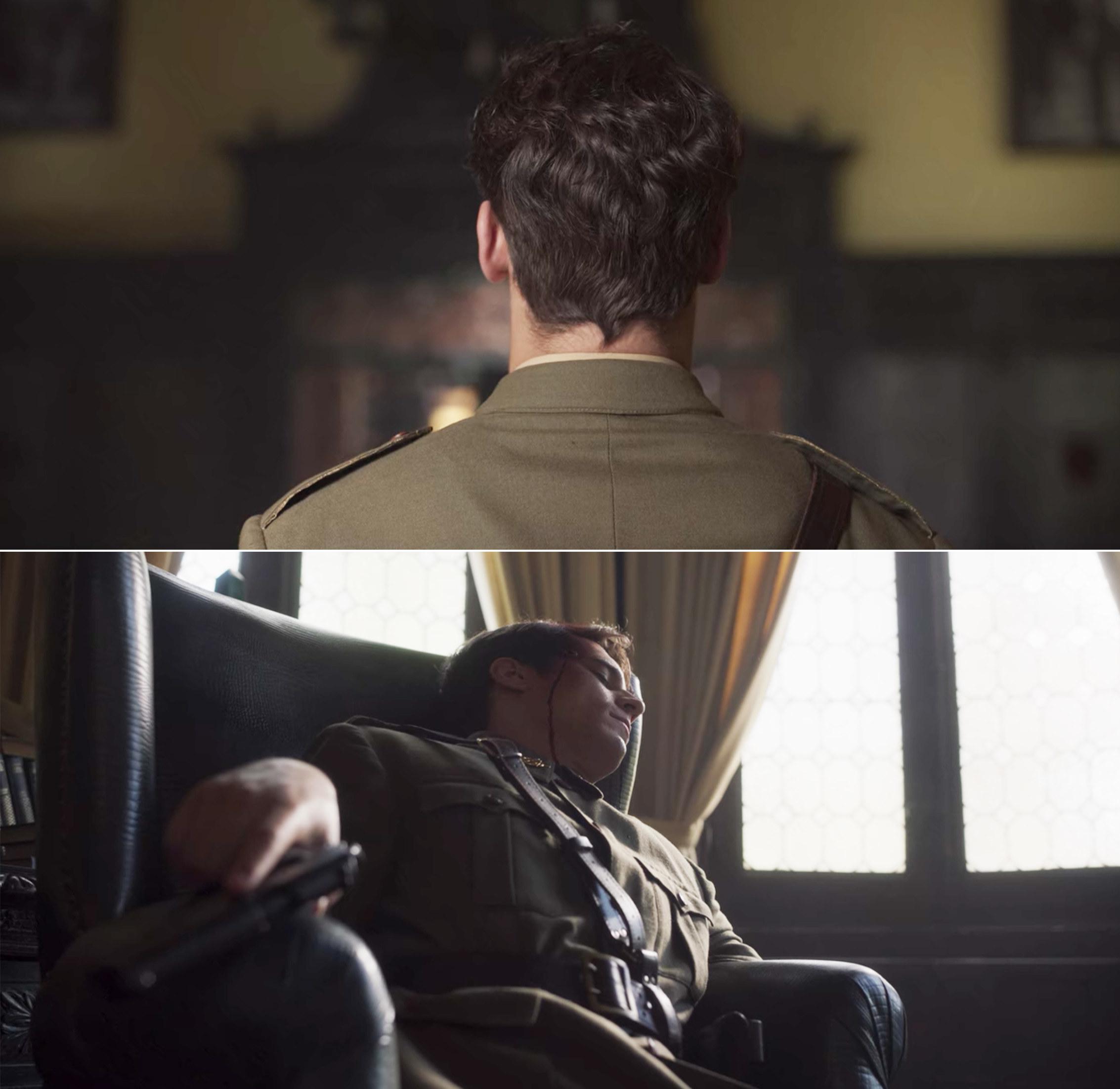 Carlos sitting in a chair, bleeding from his head