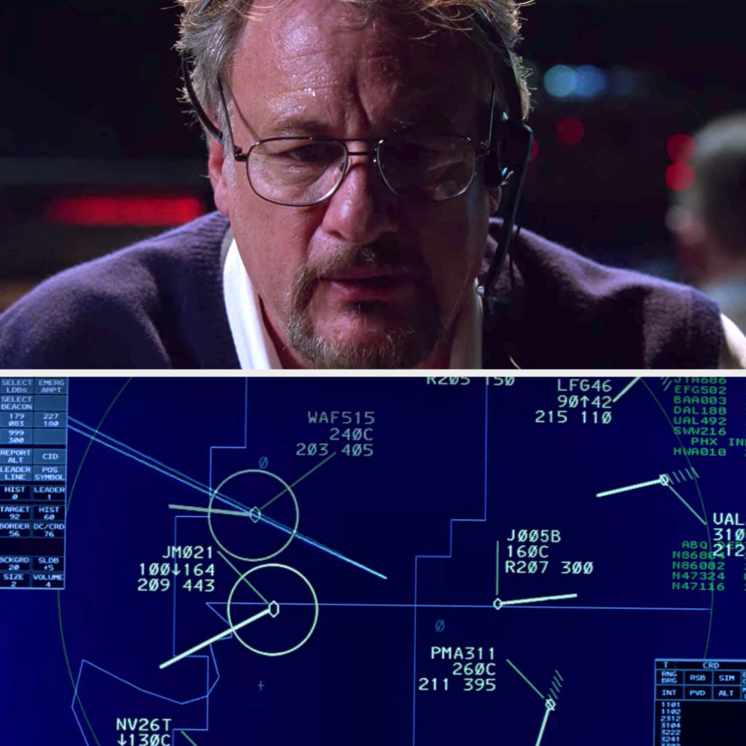 Jane's father, looking nervous, watching the radar