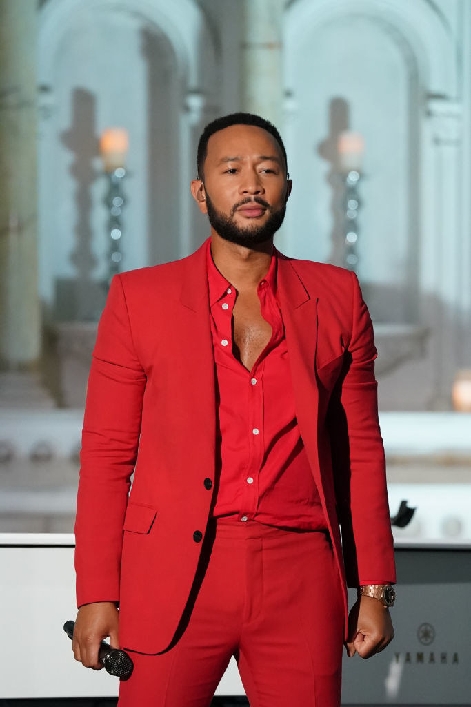 John Legend performing at the Macy's Fourth of July Fireworks Spectacular show in July 2020