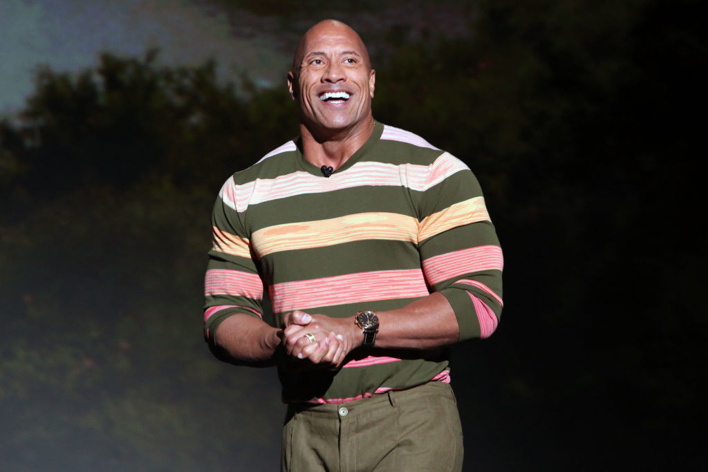 Dwayne Johnson on stage at the D23 Expo in 2019