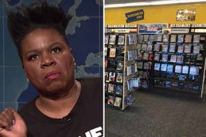 Leslie Jones looking disgusted, and the inside of a Blockbuster store
