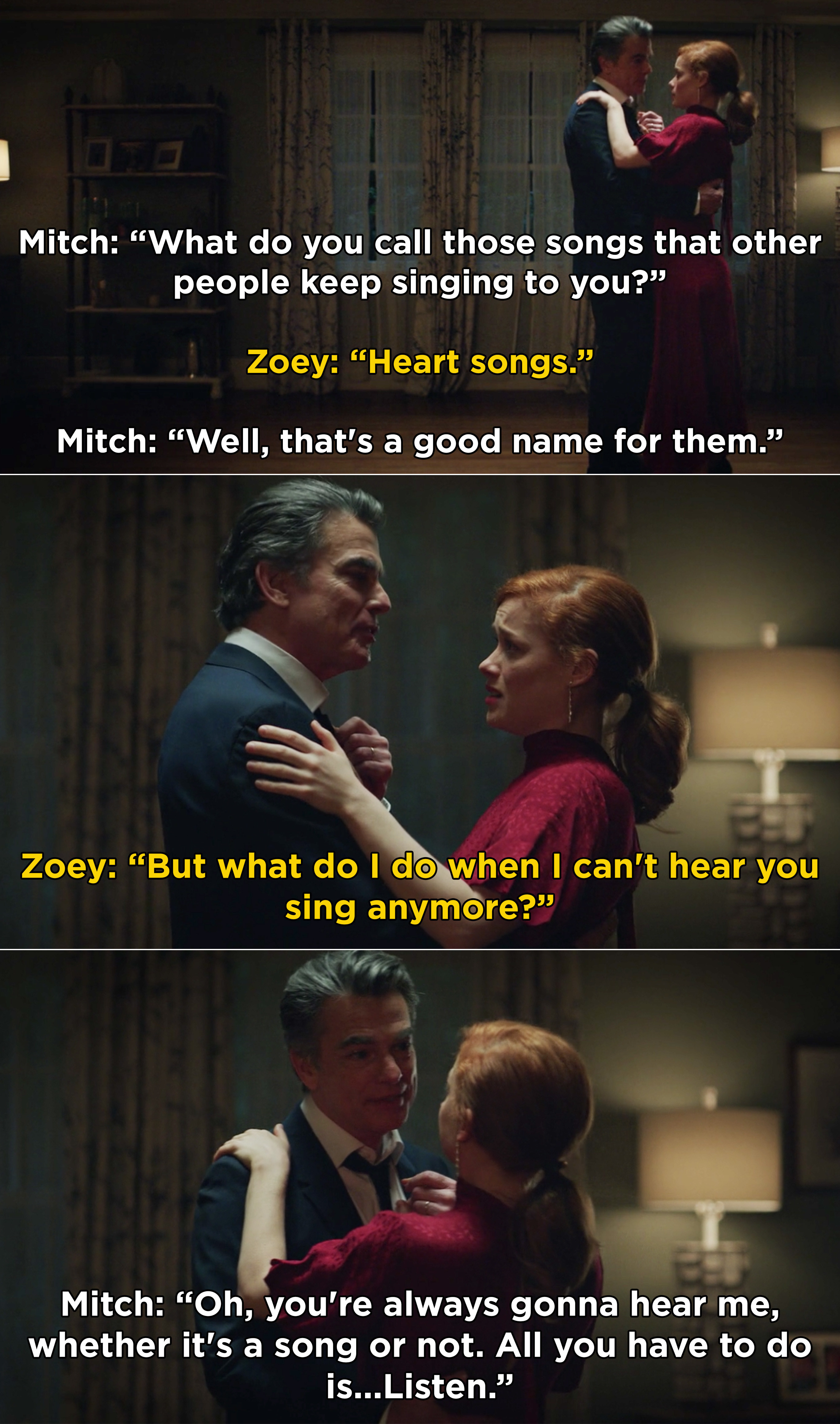 Mitch and Zoey dancing and Mitch saying that Zoey will always hear him