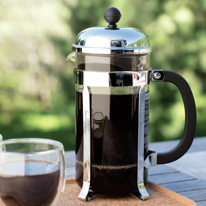 The Bodum french press coffee maker in chrome