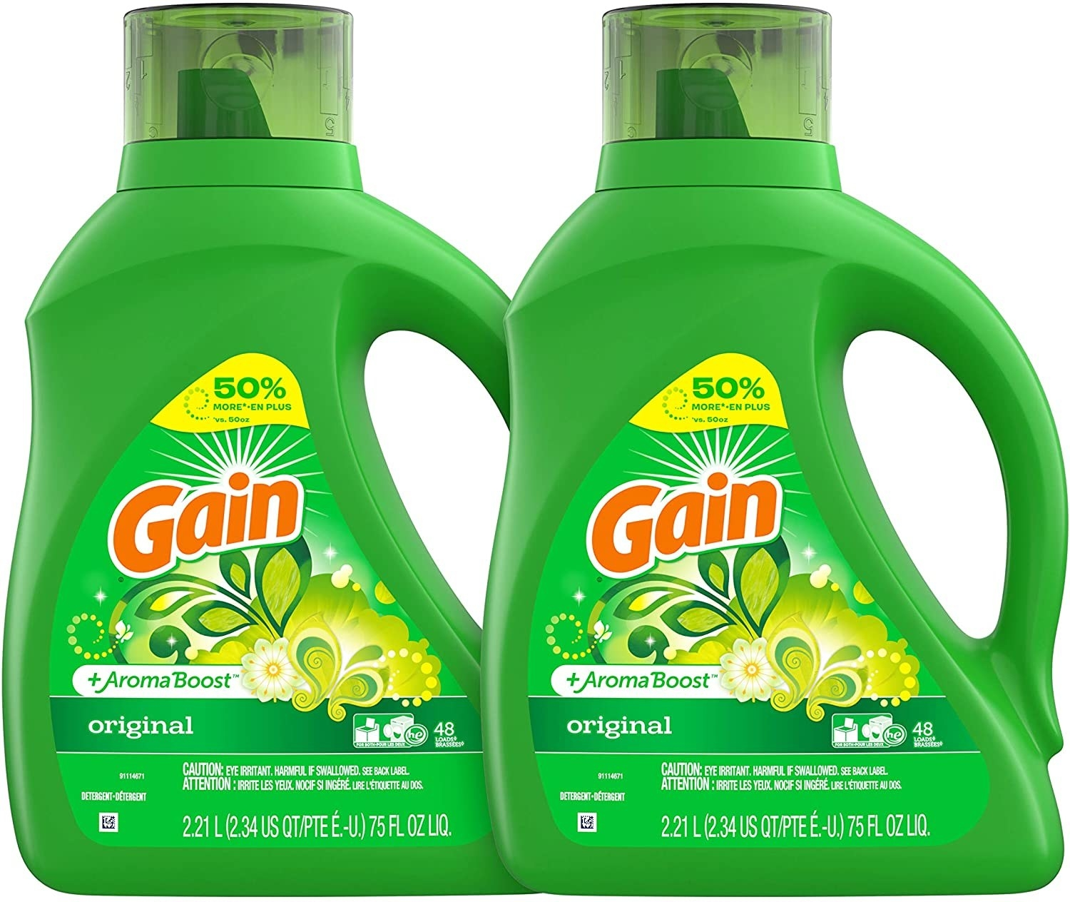 the two green bottles of Gain detergent