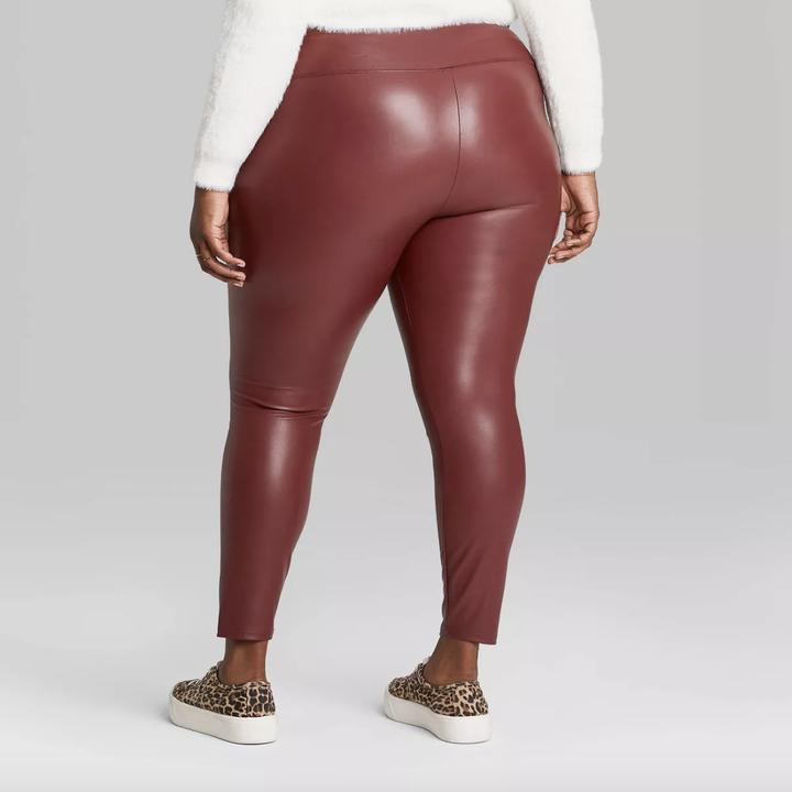 model wearing the burgundy leggings