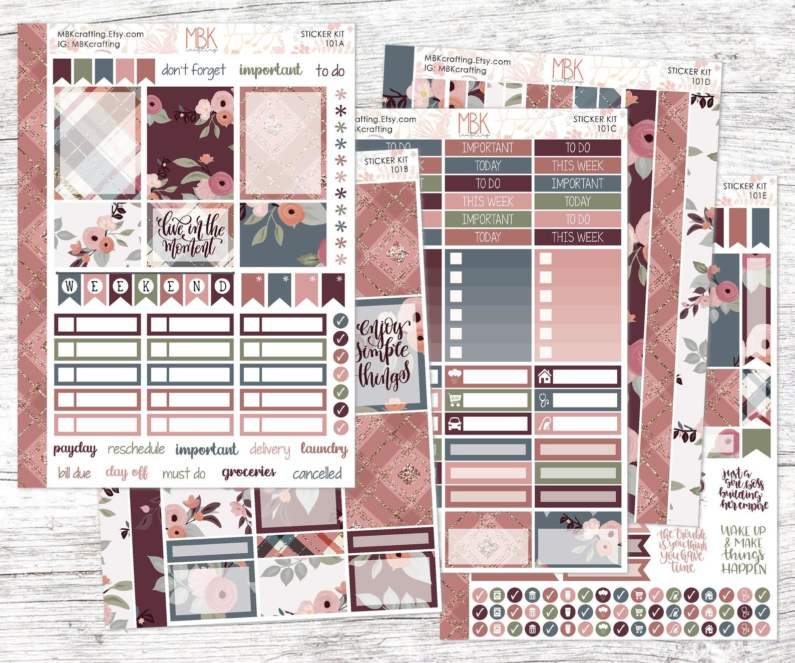 Set of planner stickers