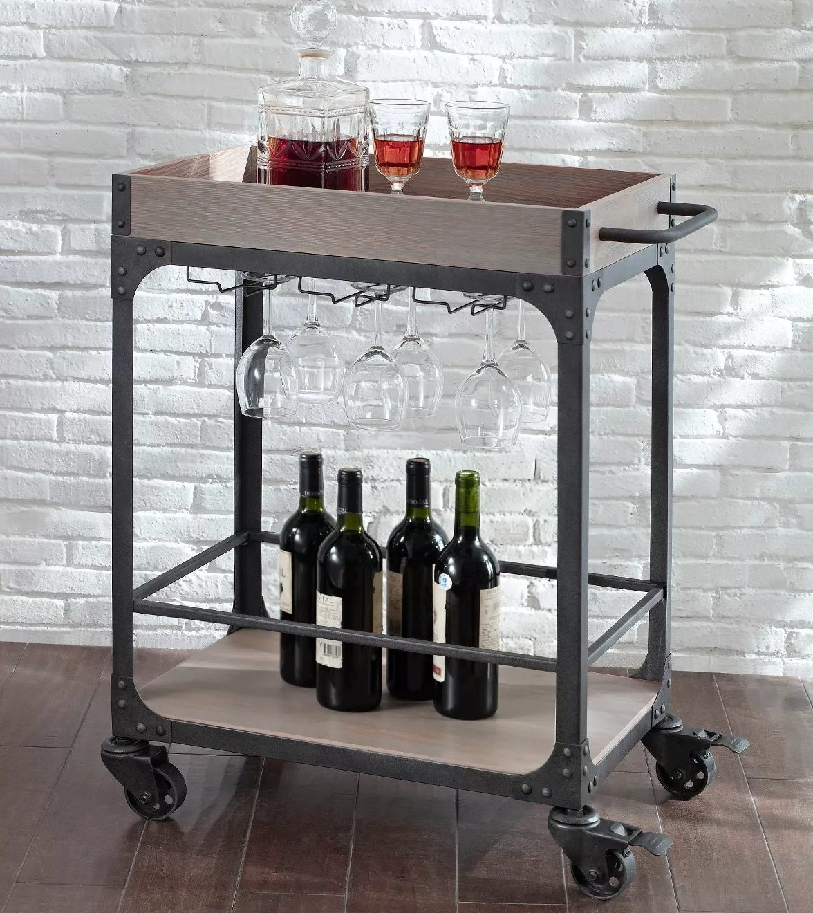 The bar cart on wheels with two shelves and hidden wine glass storage