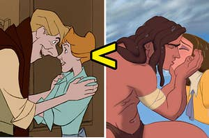 Roger and Anita from 101 dalmatians on the left and tarzan and jane kissing on the right