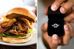 On the left, a bacon cheeseburger with lettuce and onion rings on top, and on the right, someone opening up a box to show off a diamond ring