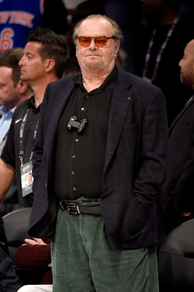 Jack Nicholson standing on the sidelines at the NBA All-Star game in 2018