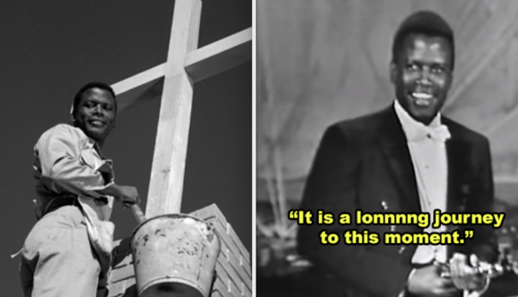 "Side-by-sides of Sidney Poitier in ""Lilies of the Field"" and him accepting his Oscar on stage"