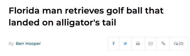 FLorida man retrieves golf ball that landed on alligator's tail