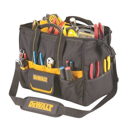 a black toolbag with yellow accents filled with tools