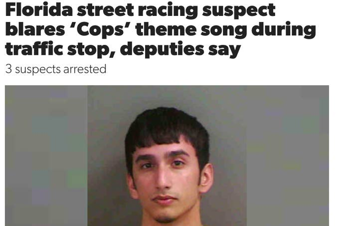 florida street racing suspect blares cops theme song during traffic stop, deputies say