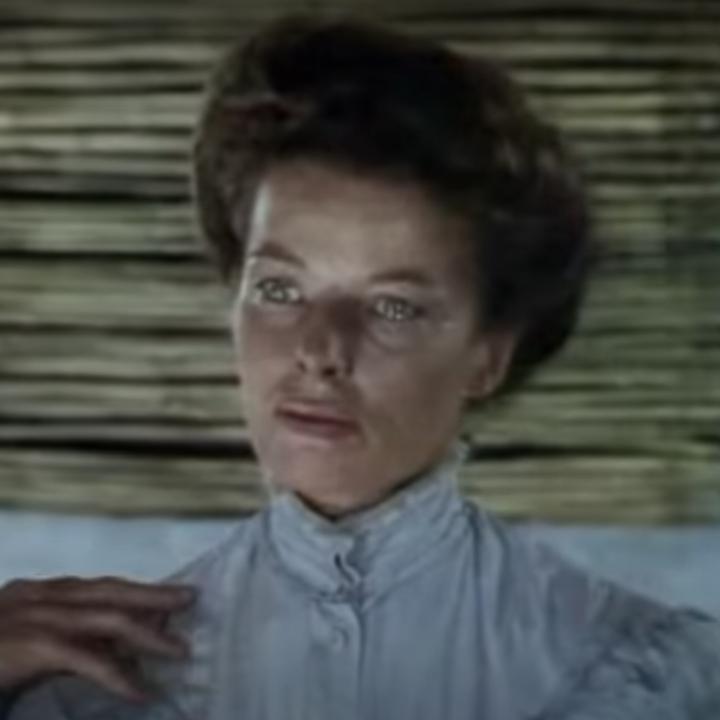 "Kate Hepburn in the trailer for ""The African Queen"""