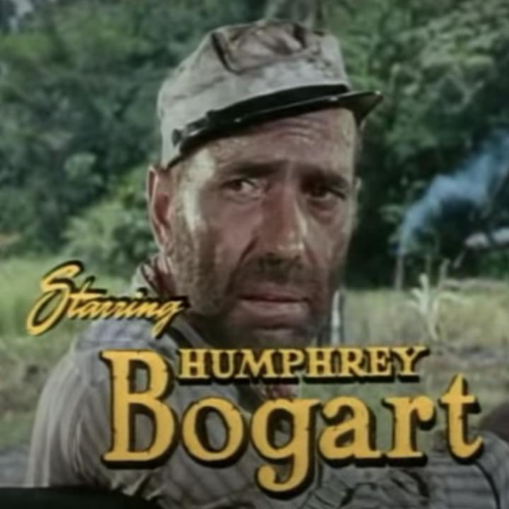 "Humphrey Bogart in the trailer for ""The African Queen"""