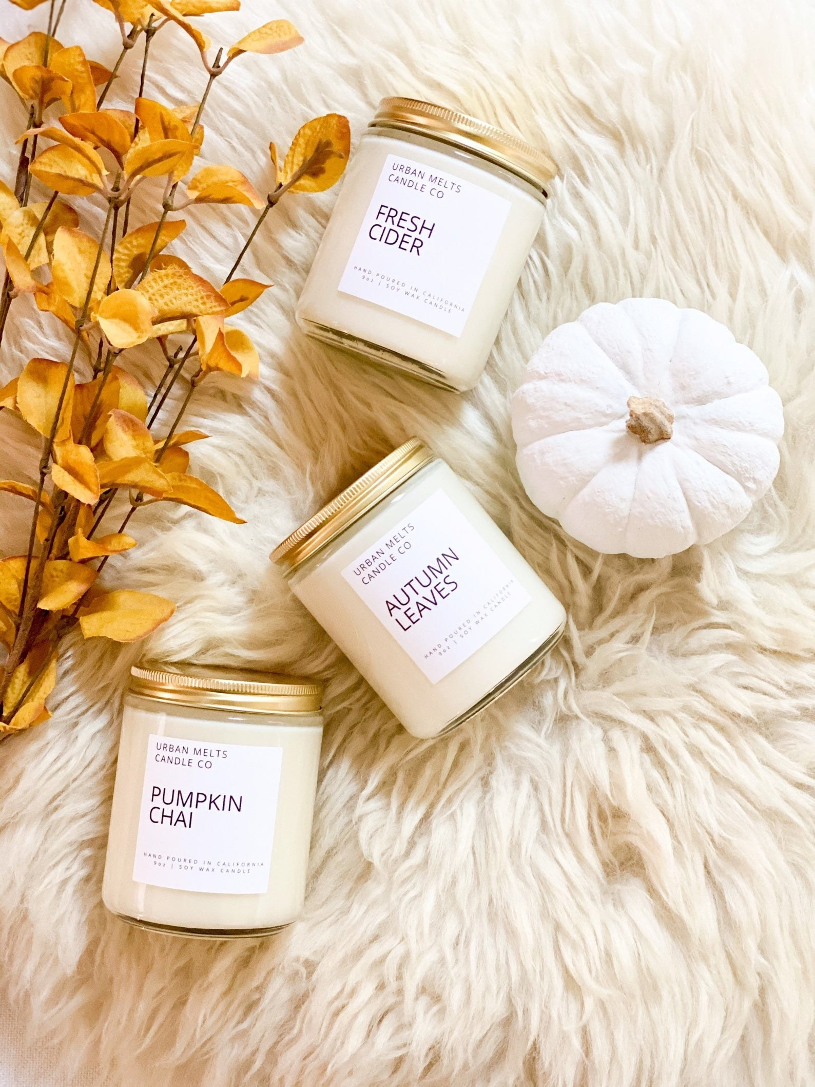 Candles in Fresh Cider, Pumpkin Chai, and Autumn Leaves