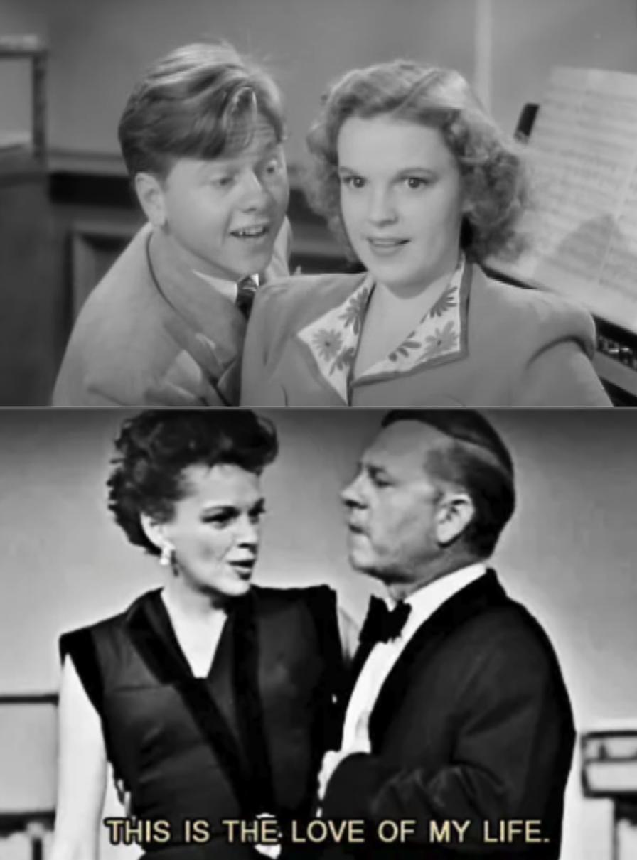 Judy Garland and Mickey Rooney as teens together, then them as adults together