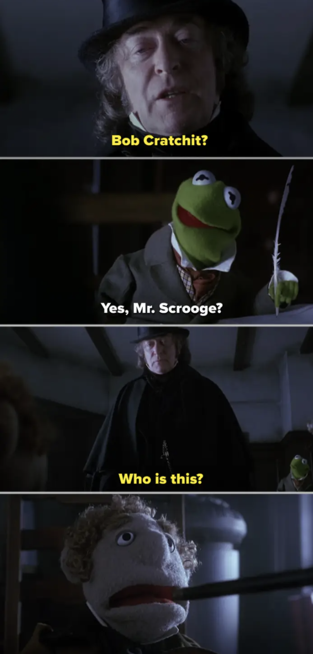 Scrooge confronting a Muppet in his office