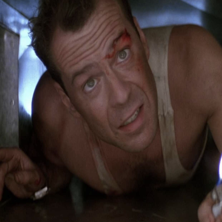 """Bruce Willis crawling through the air vents in """"Die Hard"""""""