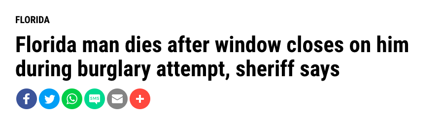 Florida man dies after window closes on him during burglary attempt, sherrif says