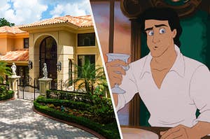 """On the left, a mansion with a gate in front of it and marble statues and palm trees surrounding it, and on the right, Prince Eric from """"The Little Mermaid"""""""