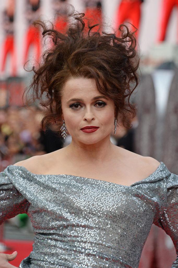 "Helena Bonham Carter wearing a glittery dress at the ""Ocean's 8"" UK premiere  in 2018"