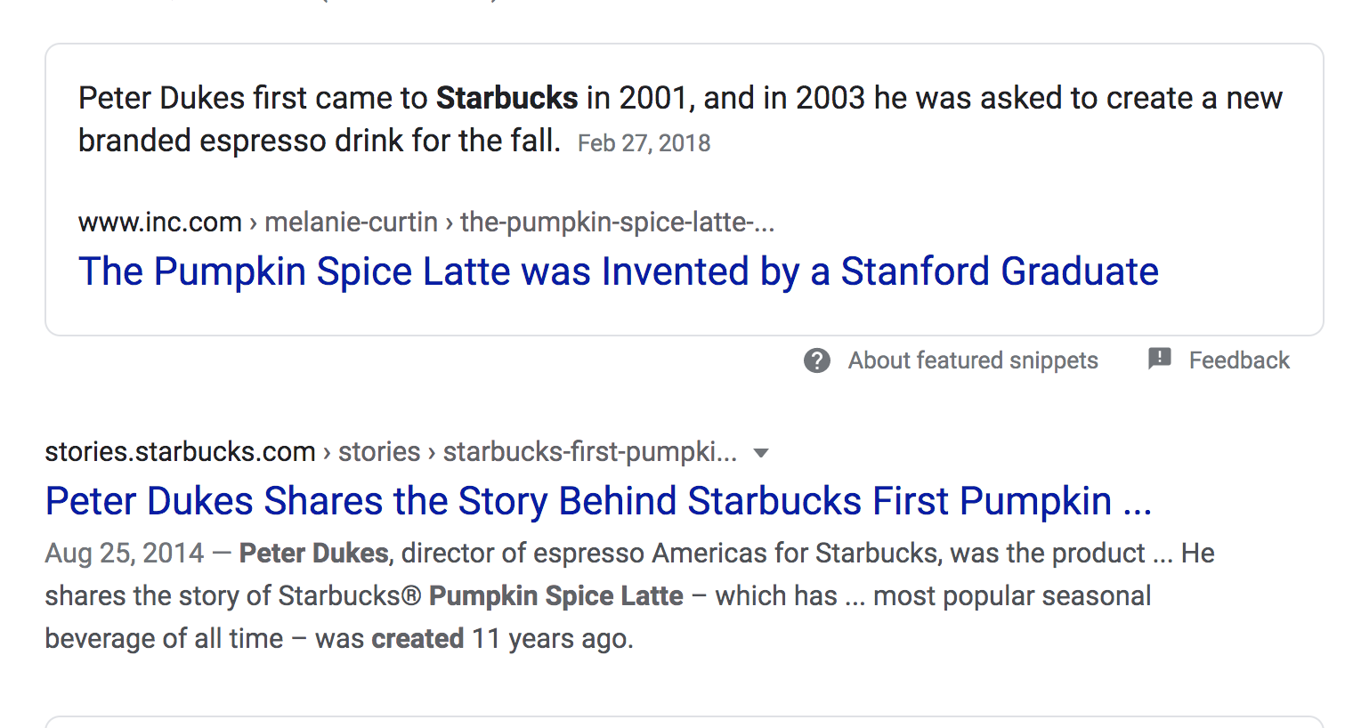 A screenshot of a Google search for who invented the PSL.