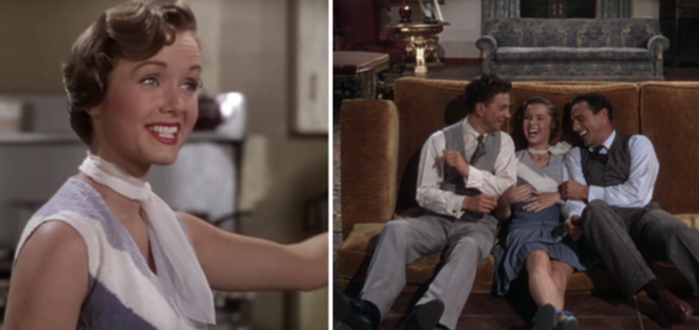 "Debbie Reynold's singing and dancing with Gene Kelly and Donald O'Connor in ""Singin' in the Rain"""