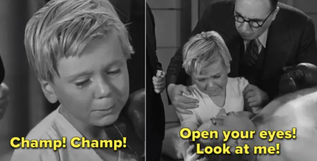 "Jackie Cooper crying at the end of ""Skippy"""
