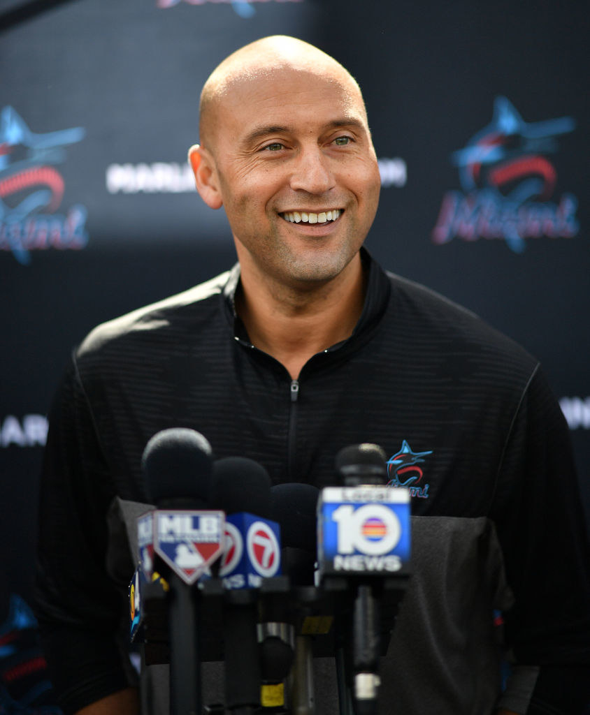 Derek Jeter during a press conference as CEO of the Miami Marlins in 2020