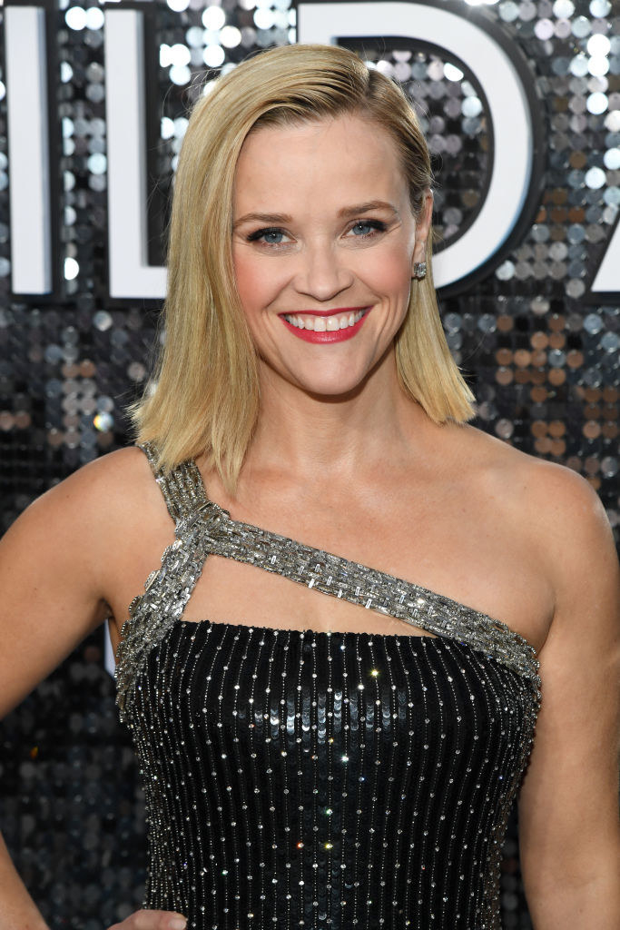 Reese Witherspoon wearing a glittery dress on the 2020 SAG Awards red carpet