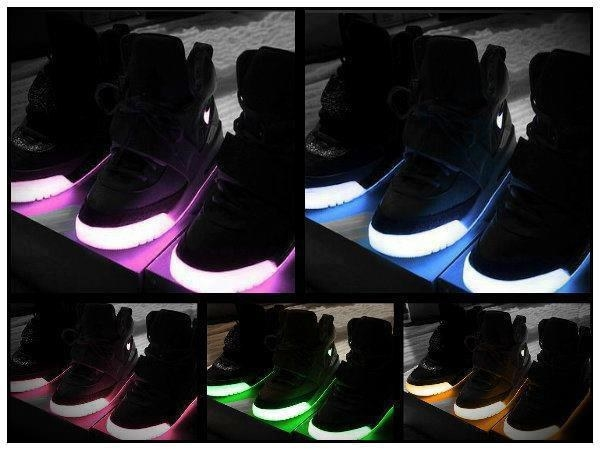 a bunch of light up shoes