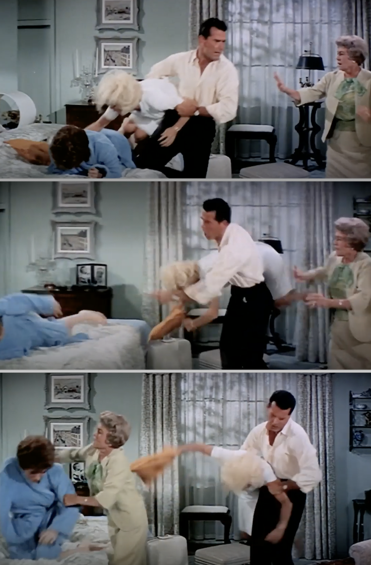 James Garner picking up Doris Day in the movie