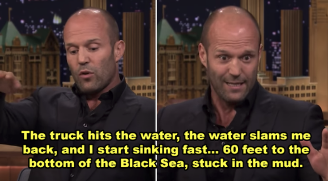 "Jason Statham telling the story on ""The Tonight Show"""