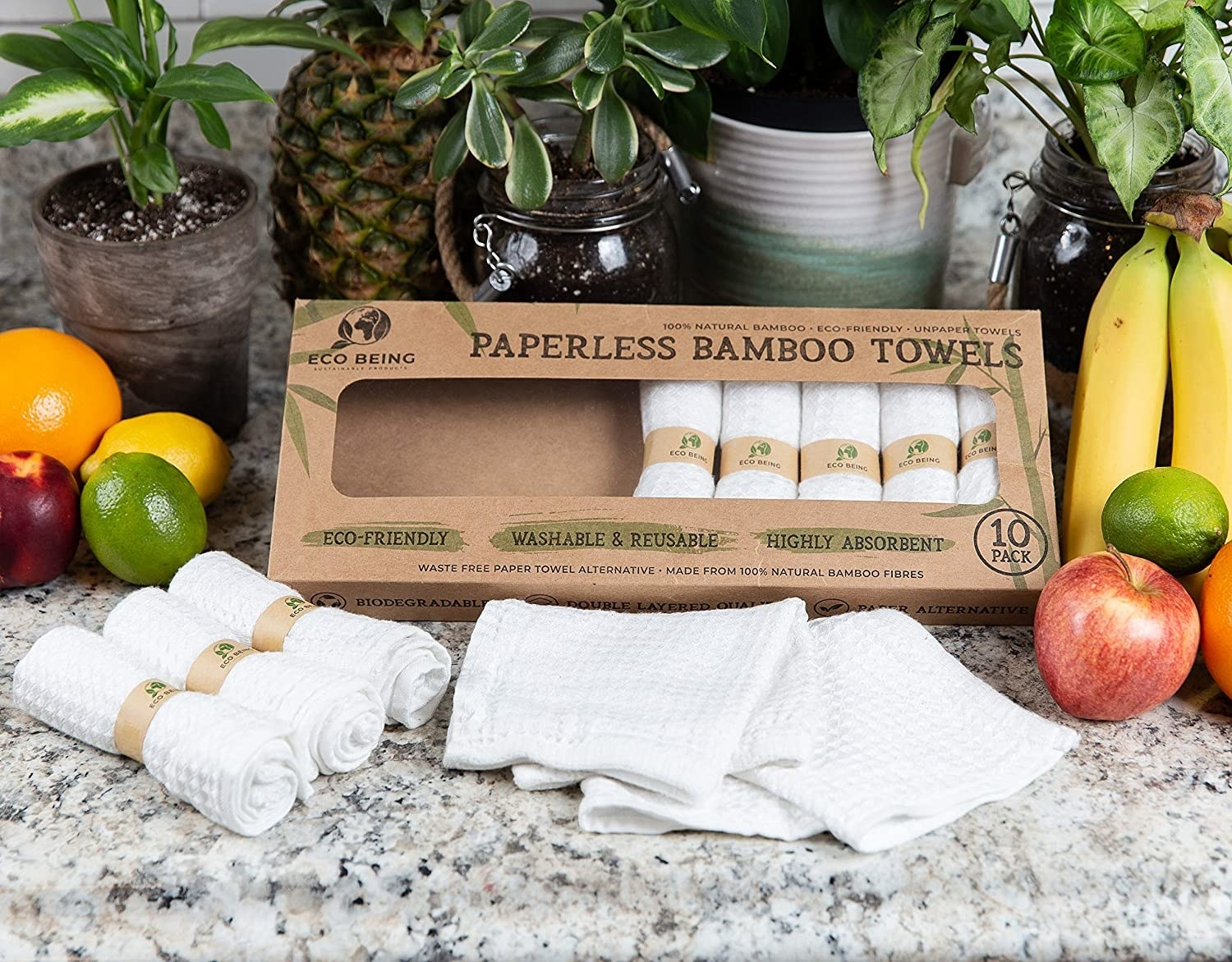 the paperless bamboo towels on a countertop with fruit