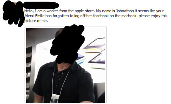 a man posting a selfie as a girl's status saying she forgot to log out of her facebook in the apple store