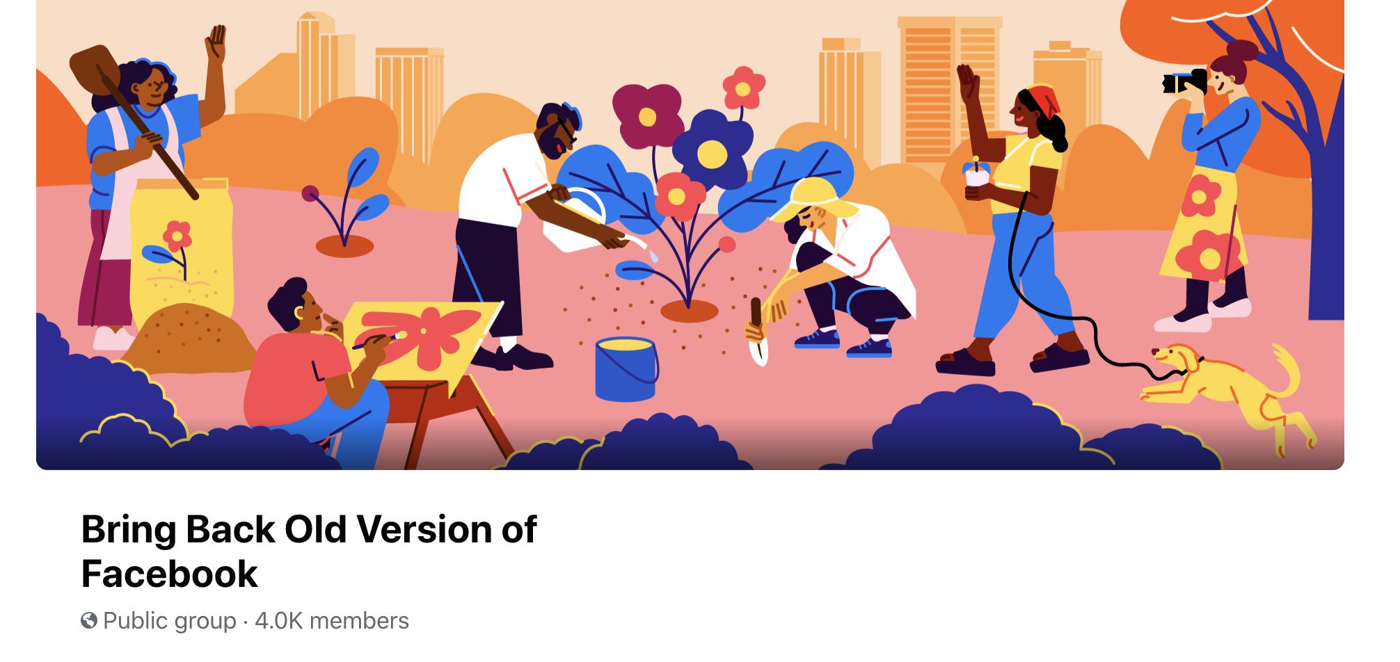 "a facebook page called ""Bring Back Old Version of Facebook"""