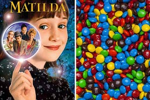 """A """"Matilda"""" poster is on the left with a bunch of M&M's on the right"""