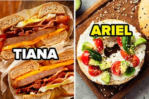 a bagel sandwich with bacon, egg, ham, cheese on it that says TIANA over the picture. next to that a bagel with tomatoes avocado lettuce and cream cheese that says ARIEL over it