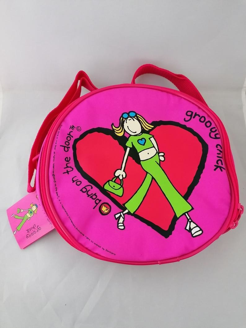 A pink mini-backpack featuring Groovy Girl on it