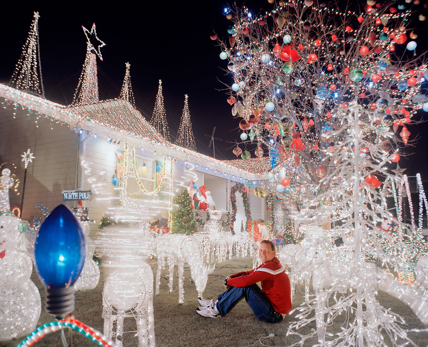 A man surrounded by white Christmas lights on a lawn