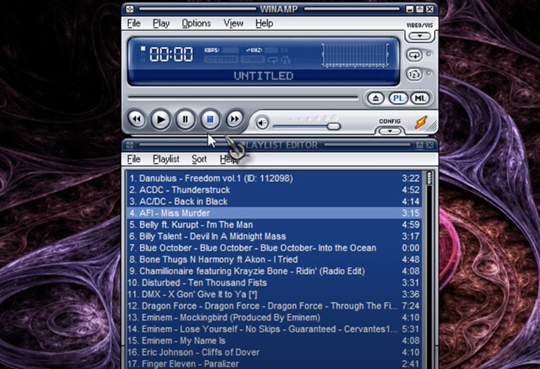 A winamp player on a computer screen
