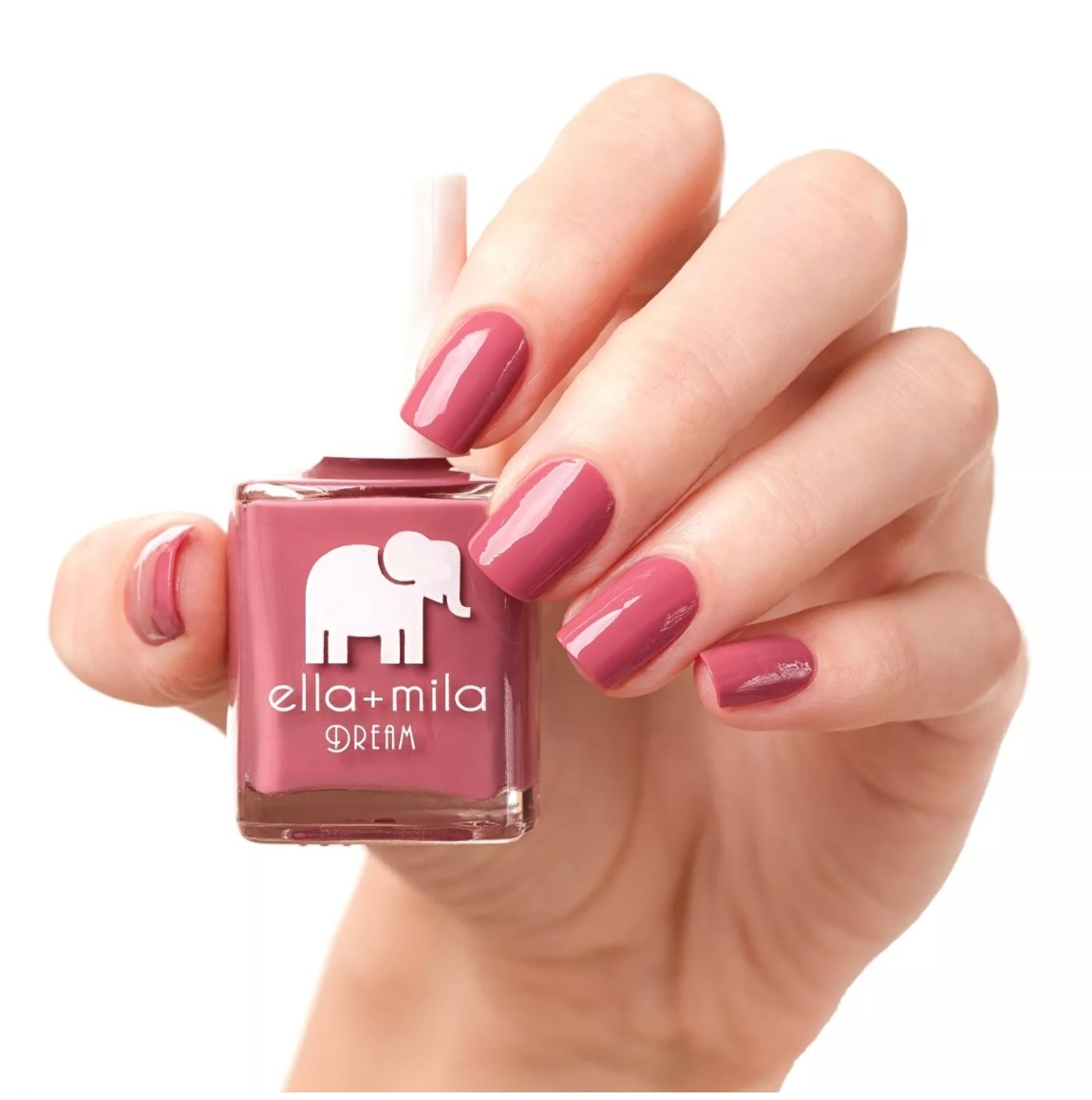 A bottle of dusty rose–colored nail polish.