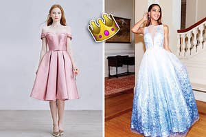 Two people in beautiful gowns with a crown emoji floating between them