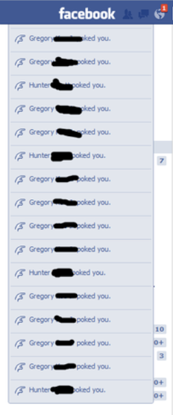notifications of two people poking someone a lot