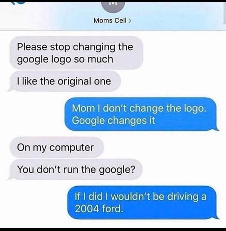 a mom texts her child to stop changing the google logo