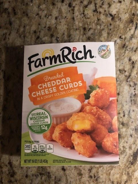 A box of Farm Rich fried cheese curds